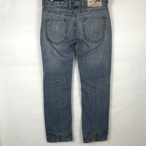 True Religion Logan Button Fly Distressed Jeans
